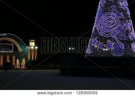 Christmas decorative tree at night
