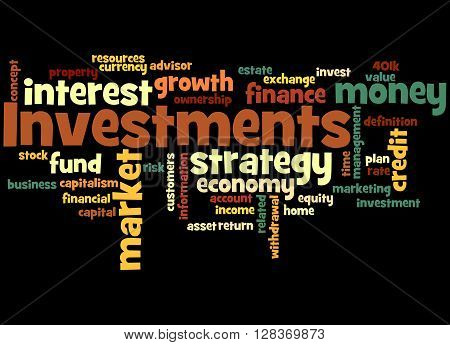 Investments, Word Cloud Concept 2