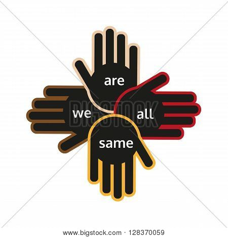 Hands of different color holding into each other showing support. Different nations unity. Vector illustration.