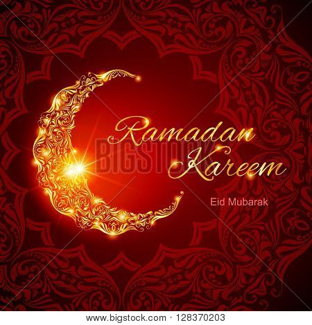 Glowing ornate crescent with bright flare and asian floral ornament in background. Illustration in red shades. Greeting card of holy Muslim month Ramadan