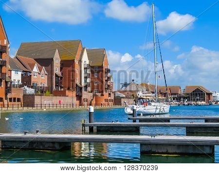 Yachts moored in the Sovereign Harbour Marina Eastbourne East Sussex England