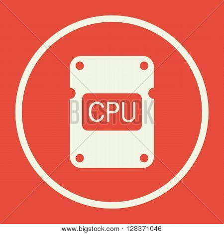 Cpu Icon In Vector Format. Premium Quality Cpu Symbol. Web Graphic Cpu Sign On Red Background.