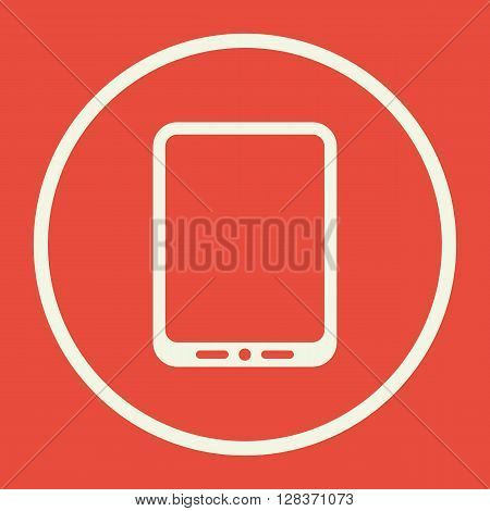 Tablet Icon In Vector Format. Premium Quality Tablet Symbol. Web Graphic Tablet Sign On Red Backgrou