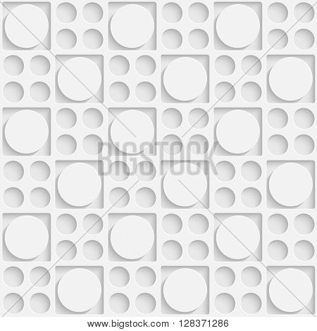 Seamless Square and Circle Pattern. Vector Soft Background. Regular White Texture