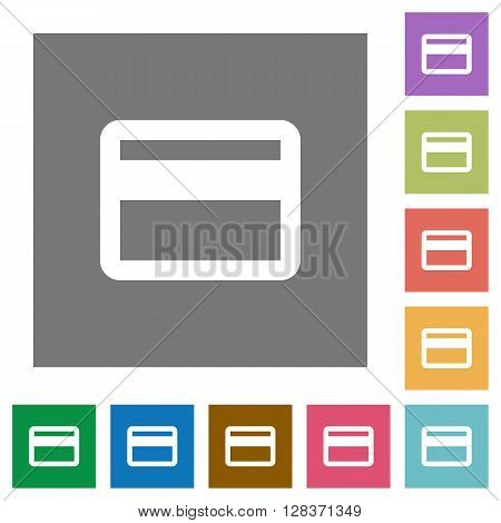 Credit card flat icon set on color square background.