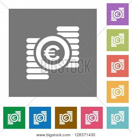 Euro coins flat icon set on color square background.