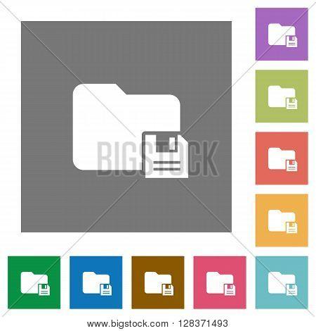 Save folder flat icon set on color square background.