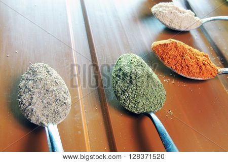 Set Of Spices In The Spoons