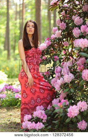 beautiful young woman with flowers