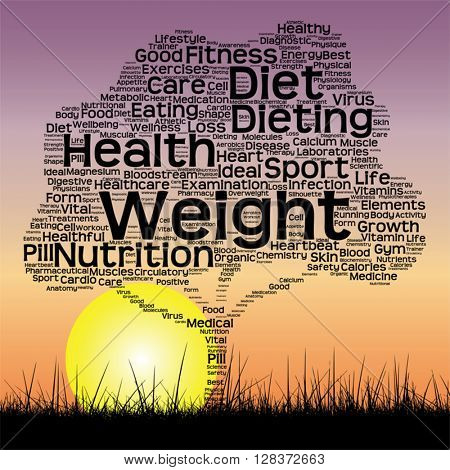 Vector concept or conceptual black health text word cloud as tree and grass on sunset sky background