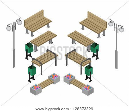 Bench. Outdoor park benches Icon Set. Wooden benches for rest in the park. Flat 3d isometric vector illustration for infographics. isometric details Park: bench, lights, bushes, trees, urns
