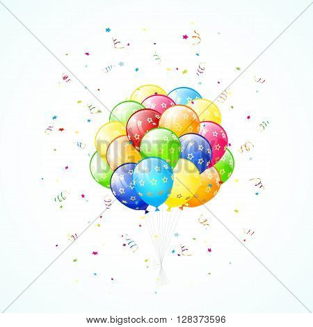 Birthday background with flying colorful balloons, holiday tinsel and confetti, illustration.