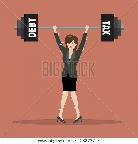 Business woman lifting a heavy weight of debt and tax. Business concept