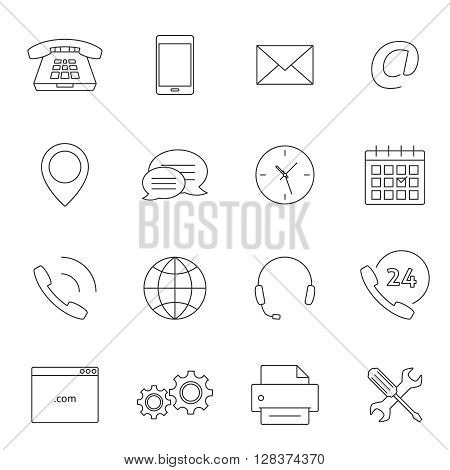 Contact us outline icons. Support feedback service icons