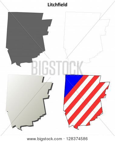 Litchfield County, Connecticut blank outline map set