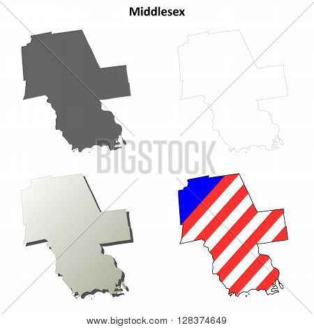 Middlesex County, Connecticut blank outline map set