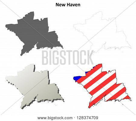 New Haven County, Connecticut blank outline map set