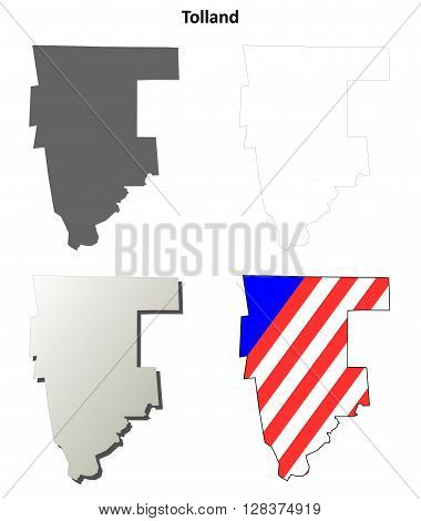 Tolland County, Connecticut blank outline map set