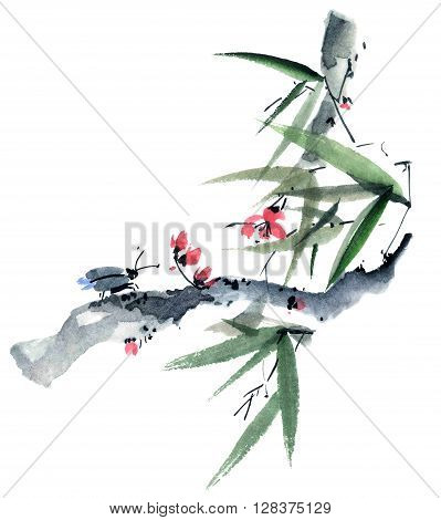 Watercolor and ink illustration of sakura and bamboo with insect in style sumi-e u-sin. Oriental traditional painting