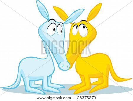 two cute aardvark illustration isolated on white background