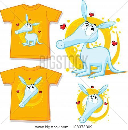 shirt with cute aardvark illustration on wehite