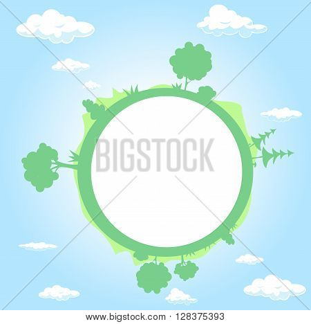 globe surrounded by clouds sky and tree - vector illustration