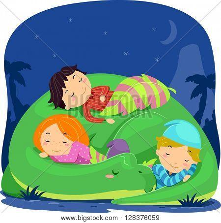 Stickman Illustration of Kids Sleeping on a Dinosaur