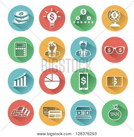 Modern flat business icons set with long shadow effect