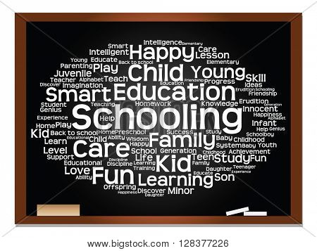 Concept or conceptual child education or family abstract word cloud, blackboard and chalk background