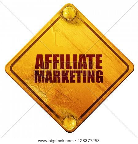 affiliate marketing, 3D rendering, isolated grunge yellow road s
