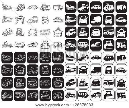 illustration on black and white background icons set cars