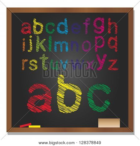 3D illustration of concept or conceptual set or collection of colorful handwritten, sketch or scribble font, black school blackboard background