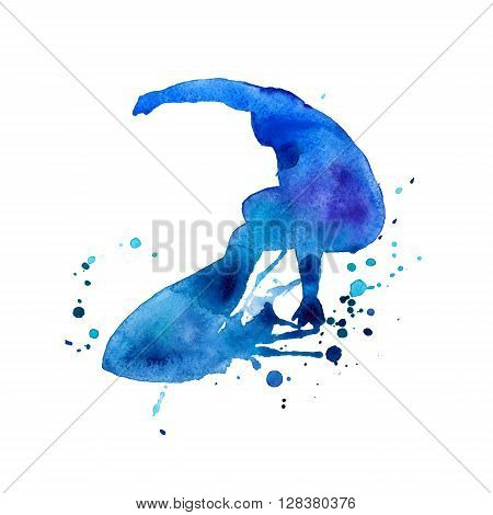 surfer. man in blue on the board. isolated. watercolor