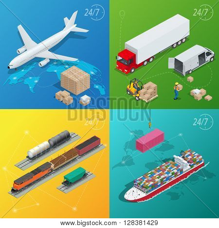 Flat style vector illustration delivery service concept. International delivery and worldwide postage. On-time delivery. Emailing and online shopping