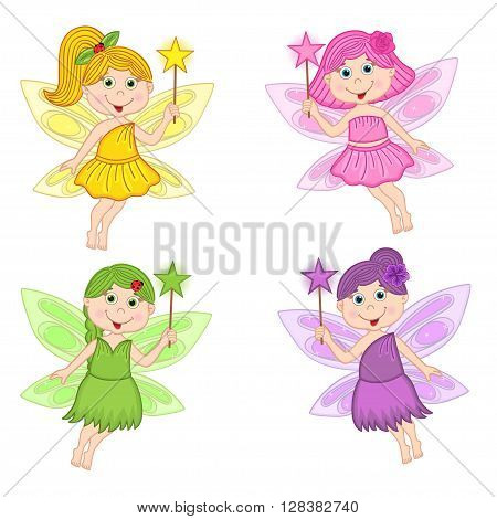 set of isolated color fairies - vector illustration, eps