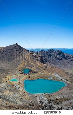View to the Emerald Lakes. Tongariro Crossing on the North Island of New Zealand.