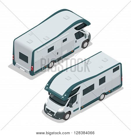 Recreational vehicles for family tourism and vacation. Flat 3d vector isometric illustration.