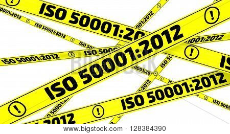 ISO 50001:2012. Yellow warning tapes. Yellow warning tapes with inscription