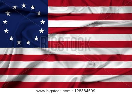 Waving Betsy Ross Flag. Beautiful satin background.