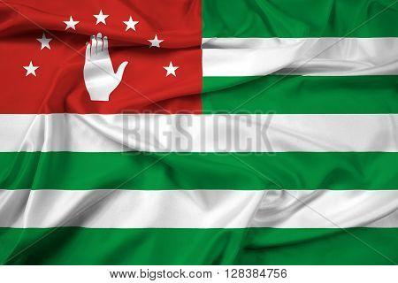 Waving Flag of Abkhazia. Beautiful satin background.