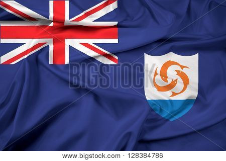 Waving Flag of Anguilla. Beautiful satin background.