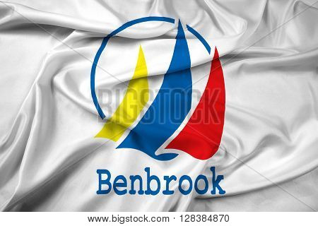 Waving Flag of Benbrook Texas. Satin background