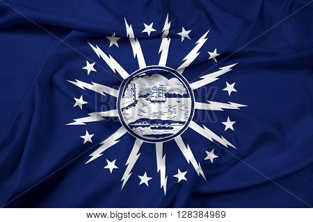 Waving Flag of Buffalo New York. Satin background