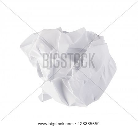 Crumpled paper isolated on a white