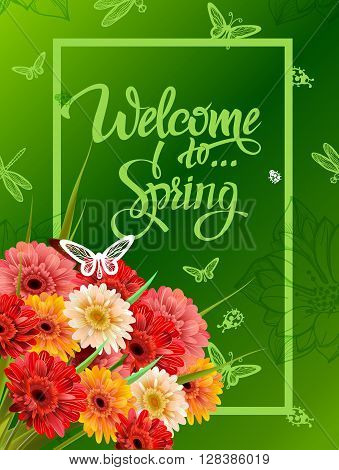 Welcome To Spring Lettering, Poster, Advertising of Spring Flowers Gerber. Summer bouquet of flowers on green background. Isolate sign and flowers.Vector illustration