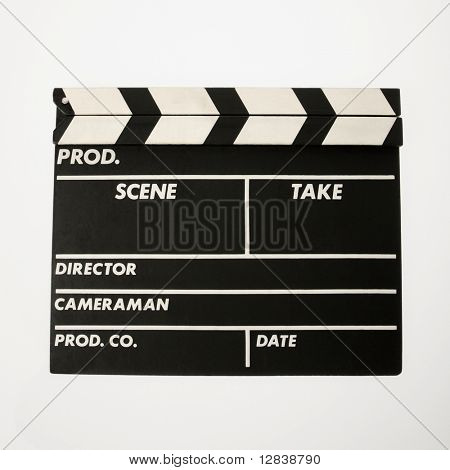 Movie scene clapboard with blank copy space against white background.