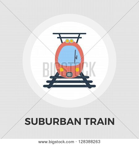 Suburban electric train icon vector. Flat icon isolated on the white background. Editable EPS file. Vector illustration.