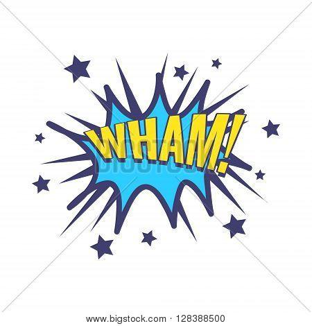 Wham Comic Speech Bubble Bright Color Classic Comic Book Style Flat Vector Design Sticker