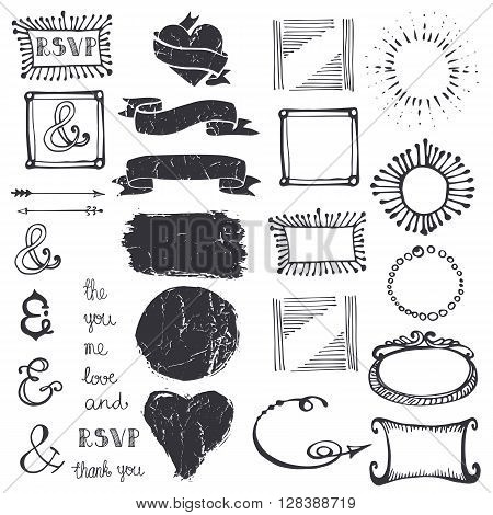 Doodles decor element set.Badges, frame and arrow, hearts and lettering ampersands, ribbons.Design template and invitation. Hand drawing sketch. For wedding, Valentine day, holiday.Vintage Vector