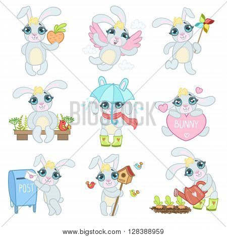 Adorable Bunny Set Of Flat Outlined Girly Vector Design Drawings Isolated On White Background